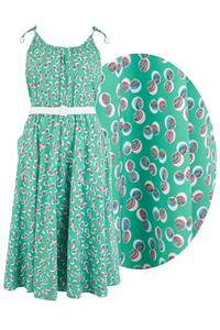 "Rock n Romance **Sample Sale** The ""Suzy Sun Dress"" in Green Abstract Polka Print, Easy To Wear Style From The 50s.. Ex-Photoshoot Item - RocknRomance Clothing"