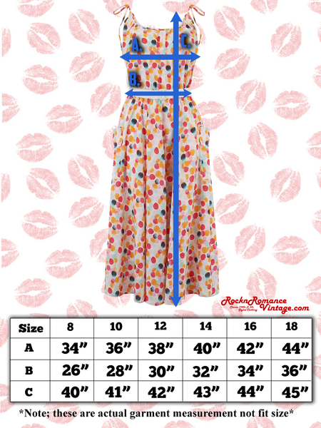 "Spec sheet Size chart ""Suzy Sun Dress"" in Paradise Print, Authentic 1950s Vintage Style, New For SS19"