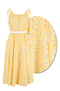 "Rock n Romance **Sample Sale** The ""Suzy Sun Dress"" in Yellow Abstract Heart Print, Easy To Wear Style From The 50s.. Ex-Photoshoot Item - RocknRomance Clothing"