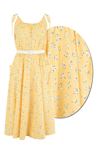 "Rock n Romance ""Suzy Sun Dress"" in Yellow Abstract Heart Print, 1950s Vintage Style - RocknRomance Clothing"