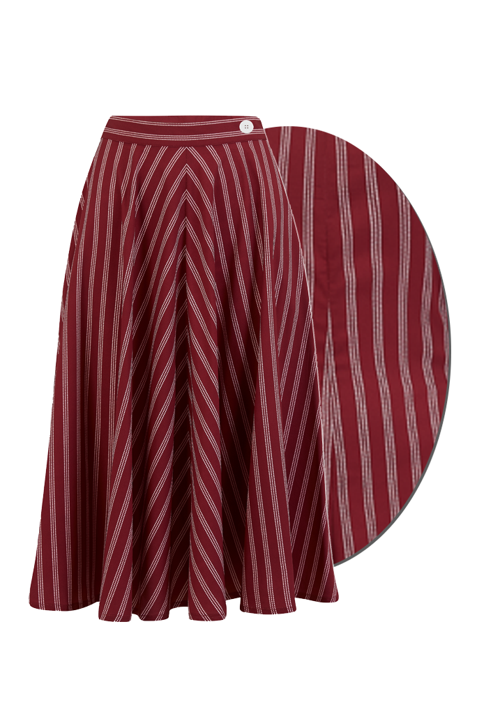 "Rock n Romance **Sample Sale** The ""Swing Skirt"" in Maroon Dotty Stripe Print, True & Authentic 1950s Vintage Style - RocknRomance Clothing"