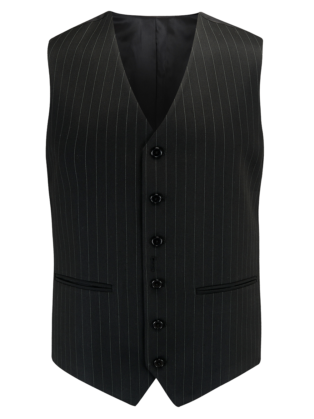 Mens Waistcoat in Black Pinstripe, 1940's Vintage Style by The Seamstress of Bloomsbury