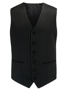 Mens Waistcoat in Black Pinstripe, 1940's Vintage Style by The Seamstress of Bloomsbury - RocknRomance True 1940s & 1950s Vintage Style