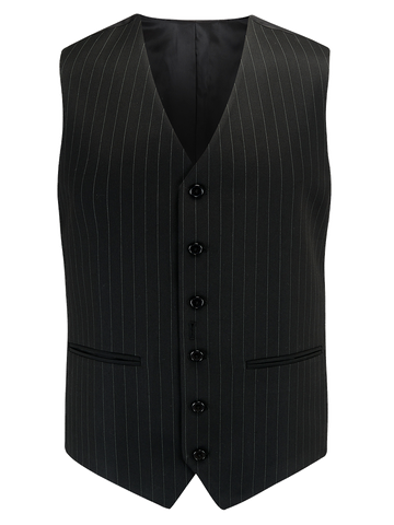 The Seamstress of Bloomsbury Mens Waistcoat in Black Pinstripe, 1940's Vintage Style by The Seamstress of Bloomsbury - RocknRomance Clothing