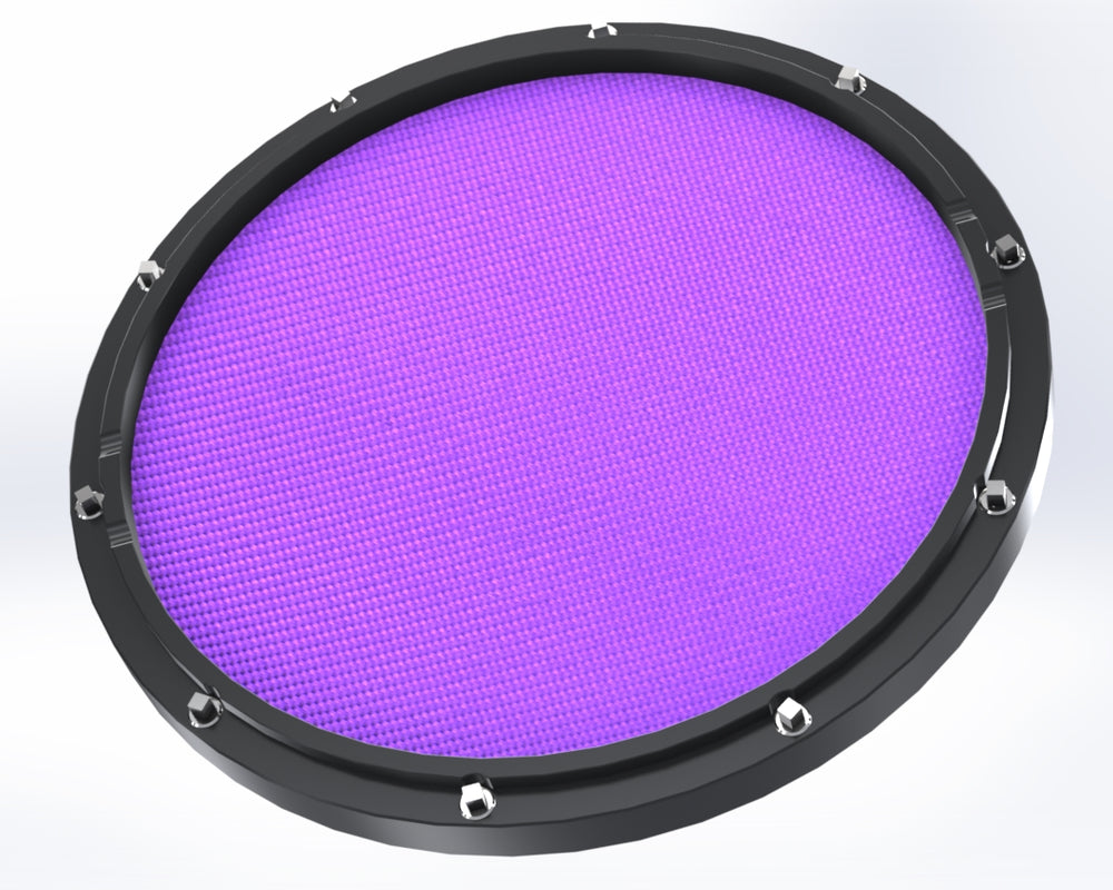 "RCP Drum Company Custom 13"" Black Double Sided Snare Drum Practice Pad Amethyst Head"