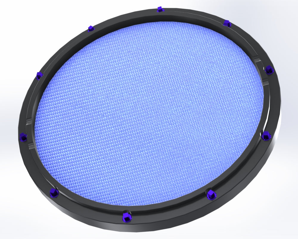 "RCP Drum Company Custom 13"" Black Double Sided Snare Drum Practice Pad Sky Blue Head - RCP Drum Company"