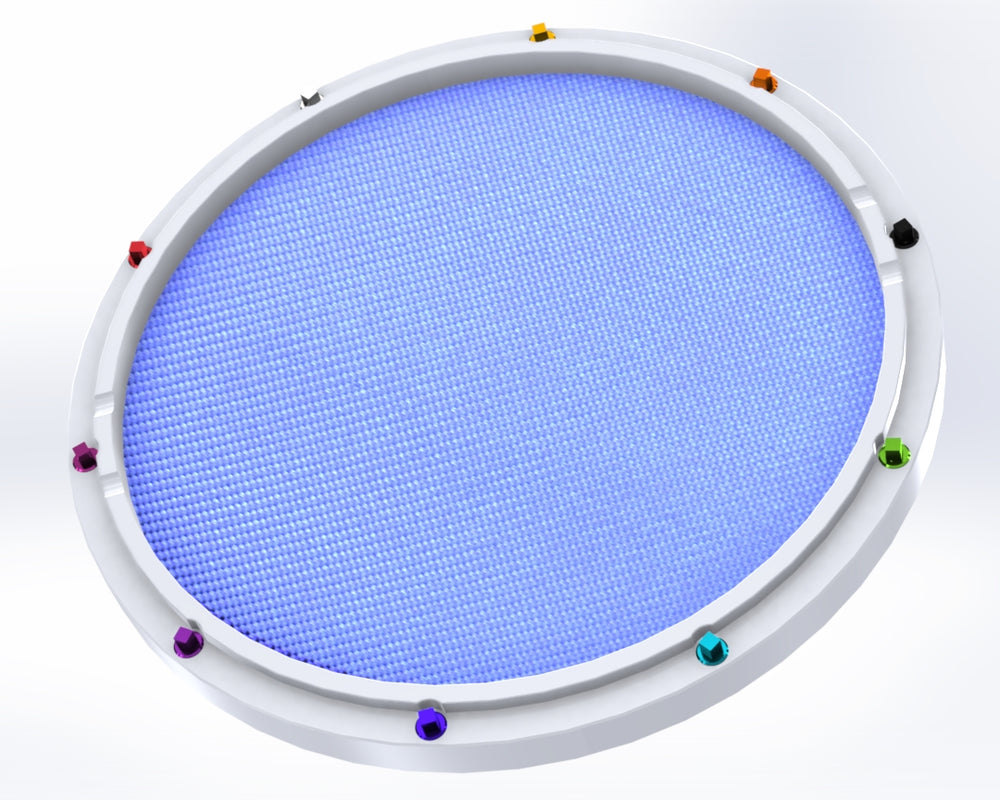 "RCP Drum Company Custom 13"" White Double Sided Snare Drum Practice Pad Sky Blue - RCP Drum Company"