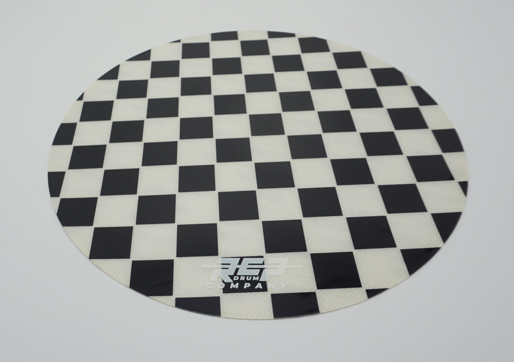 "RCP Drum 14"" Active Snare Drum Practice Pad Kevlar Head Black & White Checker"