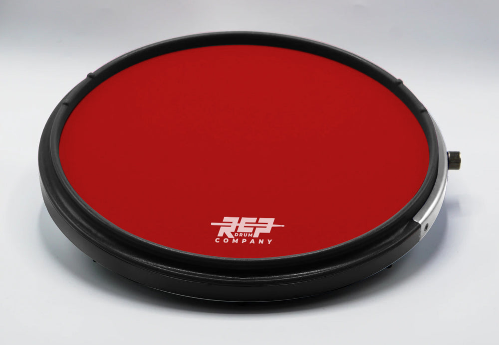 "RCP Drum 14"" Active Snare Drum Practice Pad with Adjustable Snare, Red Head"