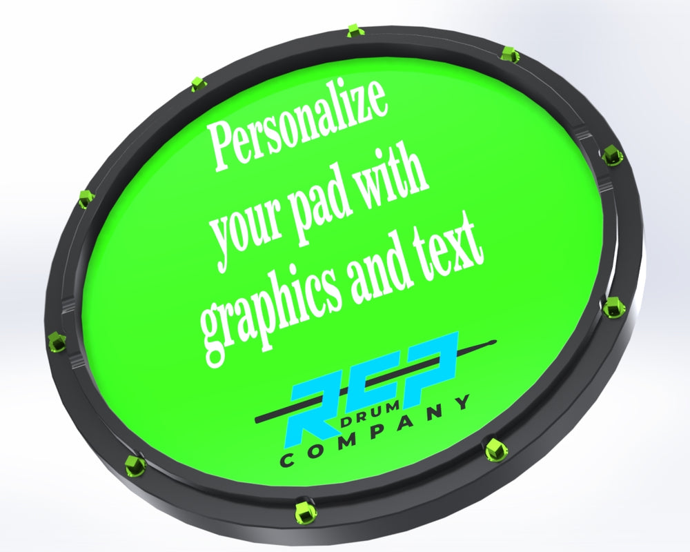 "RCP Drum Snap Shot 13"" Black Snare Drum Practice Pad Personalized Graphics - RCP Drum Company"