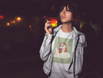 trendy girl smoking wearing wine drinking graphic tee