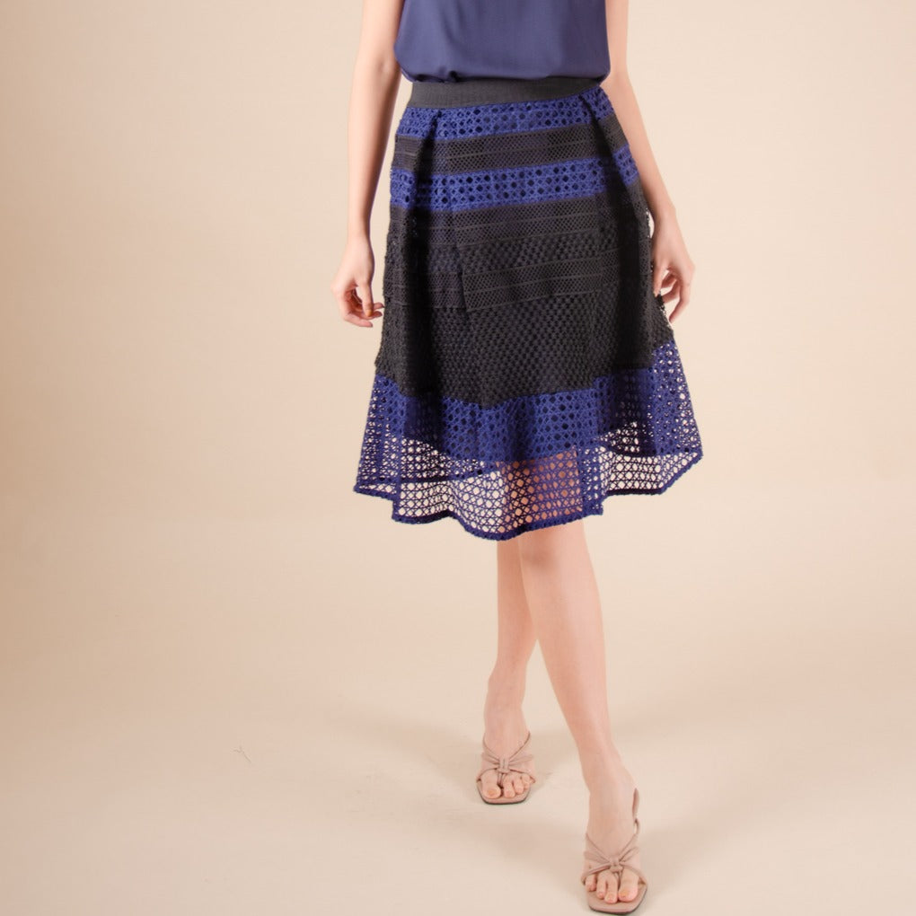 WS-LIYANA-NAVY Below the knee lace skirt