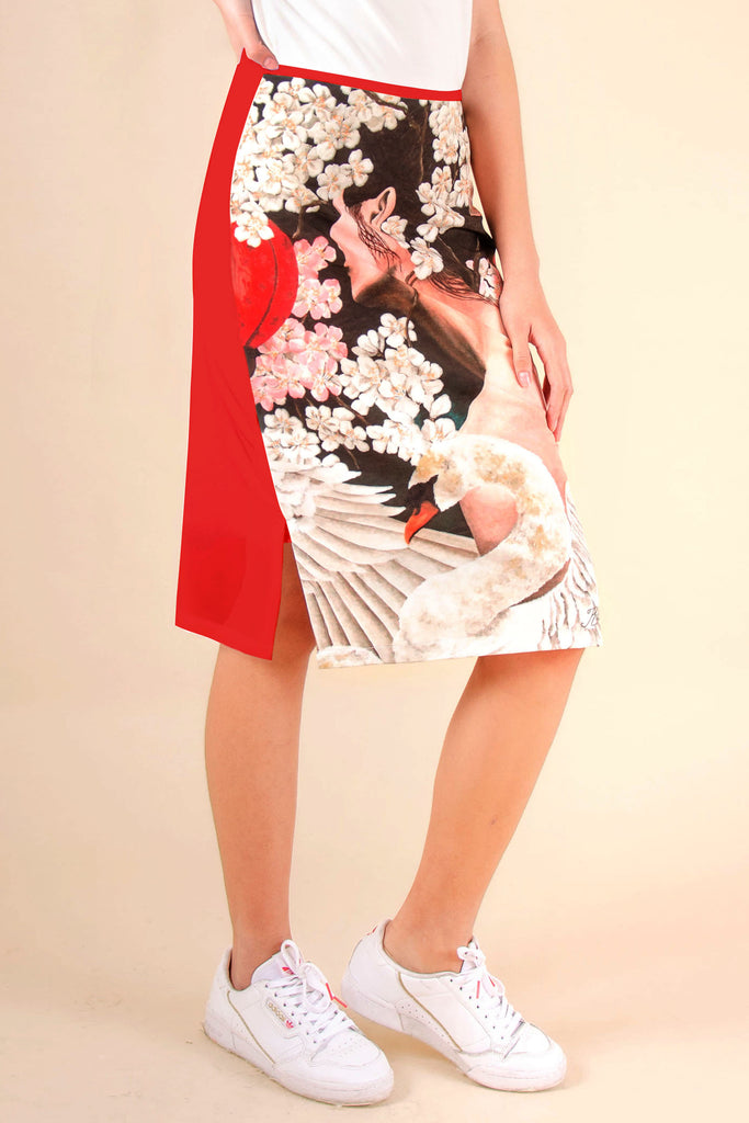 BELOWTHEKNEESWANSONG-RED Below the knee pencil cut skirt with front print and plain color at the back