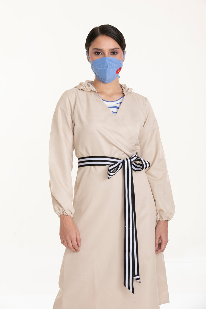 DAILYWEARFASHIONPPE-WRAPAROUNDDRESSWITHDECOBELT-FRONT Dress with Hood and Deco Belt