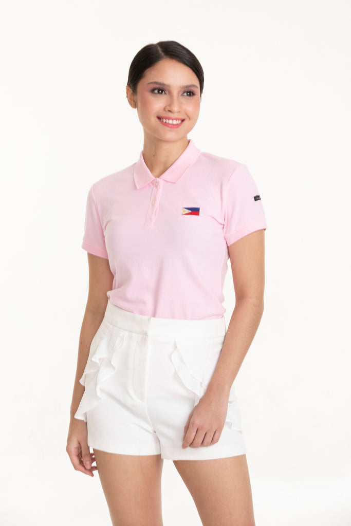ILOVEMYCOUNTRYTEE-LTPINK-FRONT S/s collared tee with placket & Philippine flag embroidery