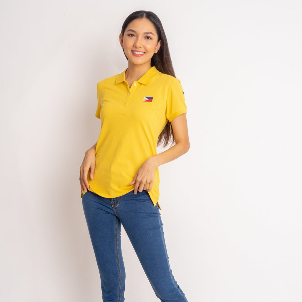 I LOVE MY COUNTRY TEE-MUSTARD-FRONT S/s collared tee with placket & Philippine flag embroidery