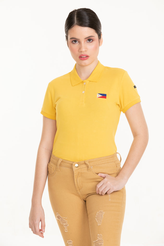 ILOVEMYCOUNTRYTEE-MUSTARD-FRONT_ S/s collared tee with placket & Philippine flag embroidery