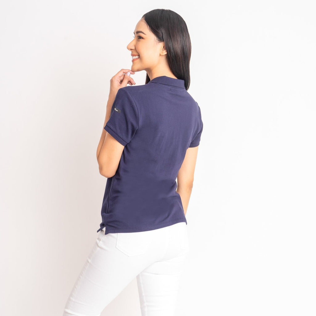 I LOVE MY COUNTRY TEE-NAVY-BACK S/s collared tee with placket & Philippine flag embroidery