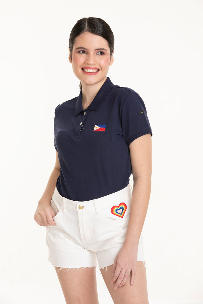 ILOVEMYCOUNTRYTEE-NAVY-FRONT S/s collared tee with placket & Philippine flag embroidery