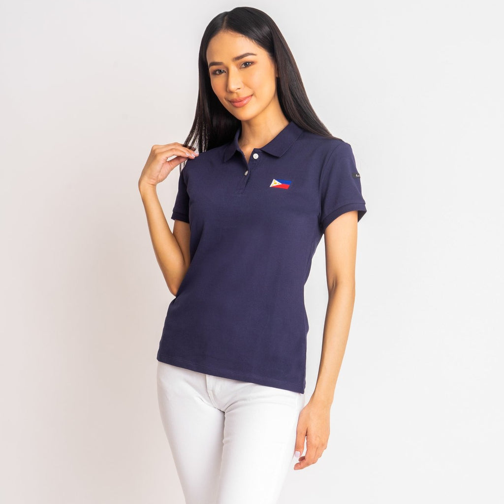 I LOVE MY COUNTRY TEE-NAVY-FRONT S/s collared tee with placket & Philippine flag embroidery