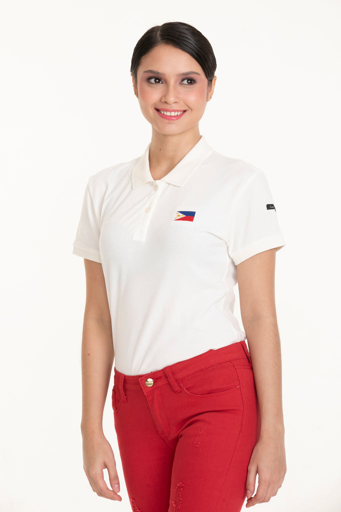 ILOVEMYCOUNTRYTEE-WHITE-FRONT S/s collared tee with placket & Philippine flag embroidery