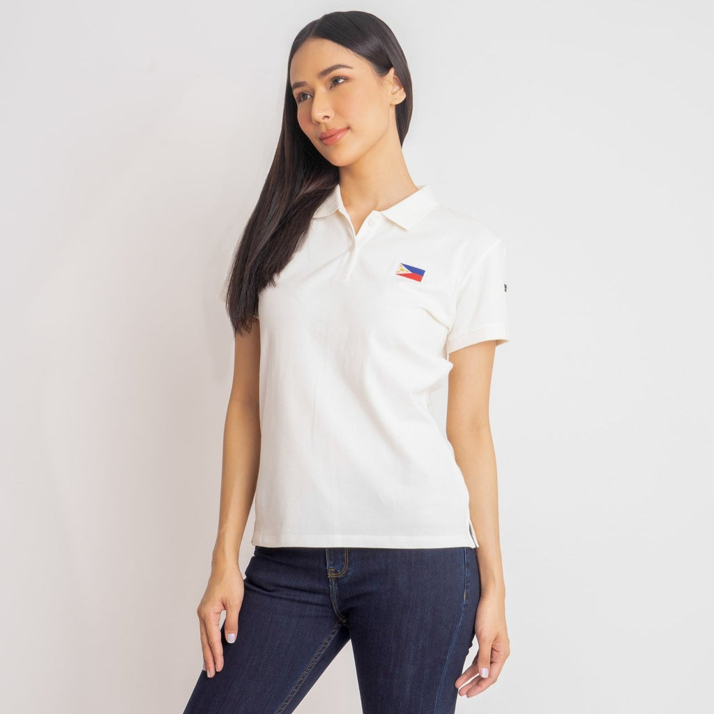I LOVE MY COUNTRY TEE-WHITE-FRONT S/s collared tee with placket & Philippine flag embroidery