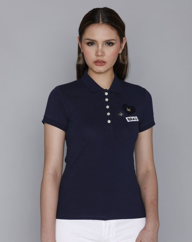 KAMISETAXBANGCOLLAREDTEE-NAVY Short sleeves collared tee with placket, buttons and heart patch detail