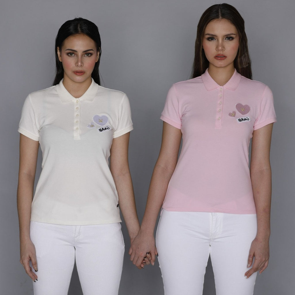 KAMISETAXBANGCOLLAREDTEE-PINK - WHITE Short sleeves collared tee with placket, buttons and heart patch detail