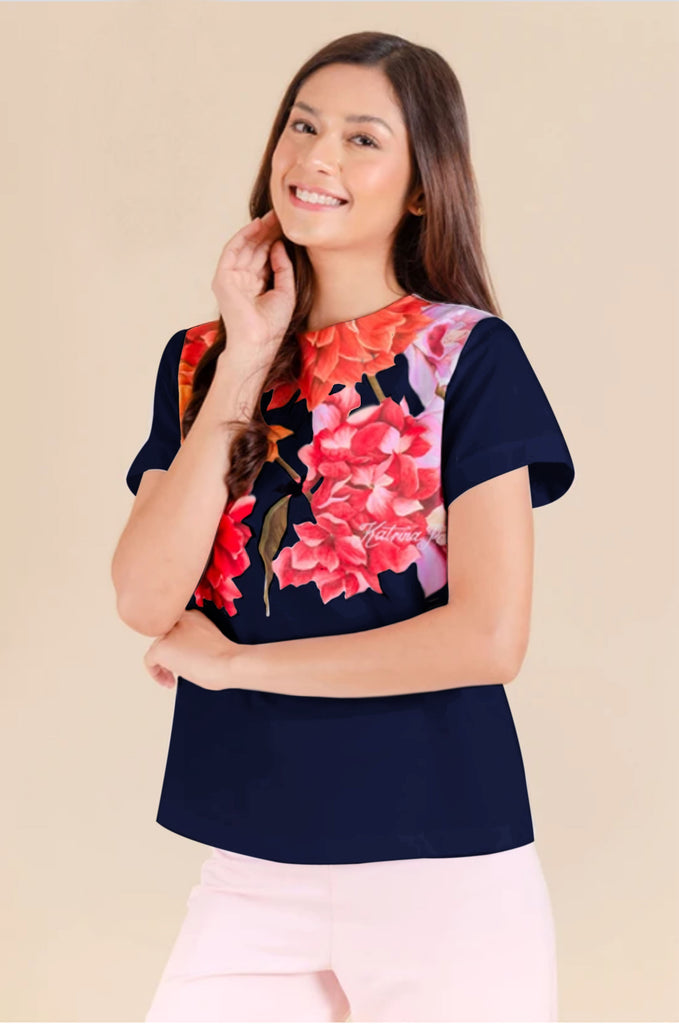 KPB-ANTHEA-FLORALNAVY Short sleeves round neck blouse with floral print