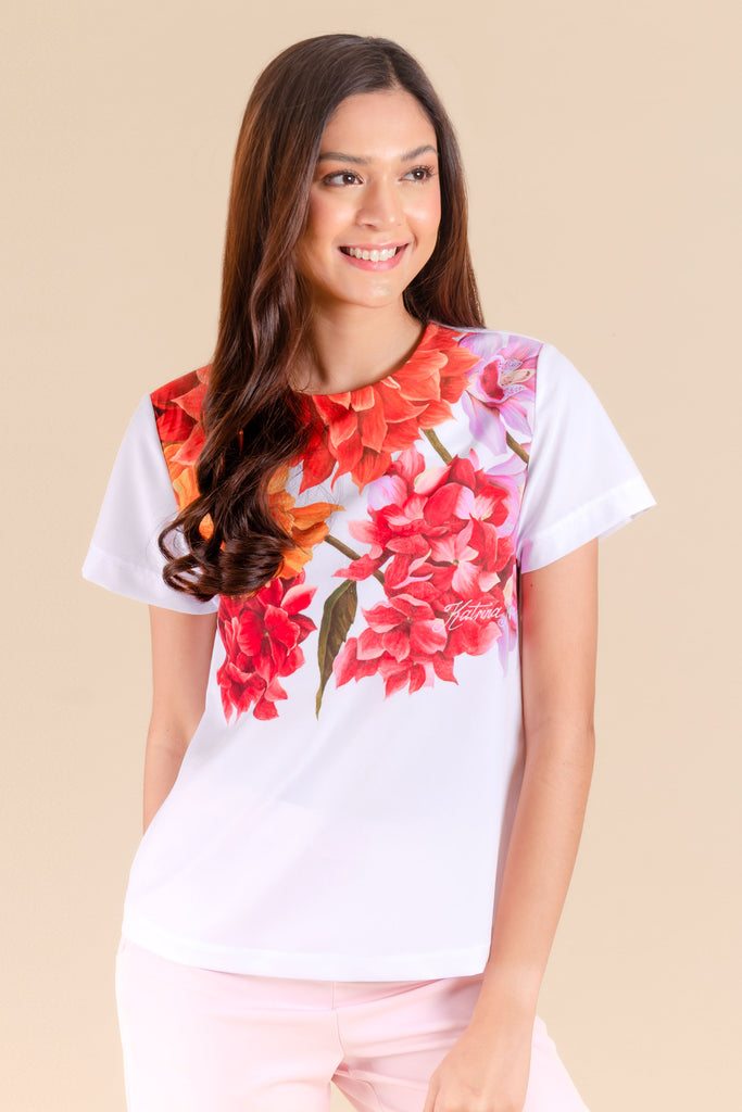 KPB-ANTHEA-FLORALWHT-FRONT Short sleeves round neck blouse with floral print