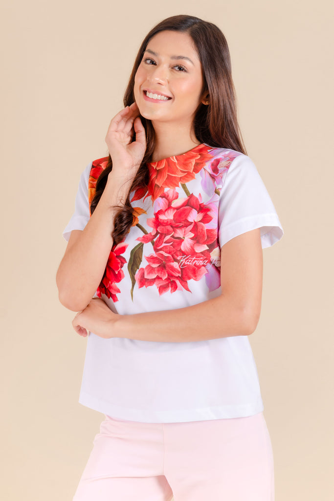 KPB-ANTHEA-FLORALWHT-SIDE Short sleeves round neck blouse with floral print