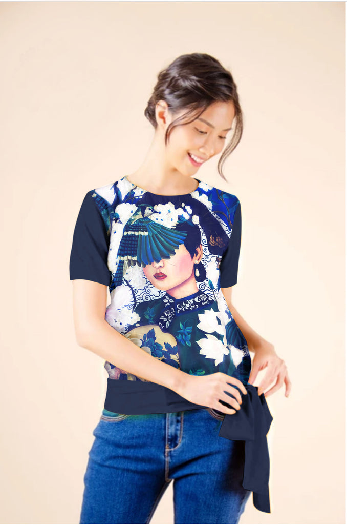 KPB-CHARMAINE-NAVY Short sleeves round neck blouse with ribbon on hem band and back keyhole