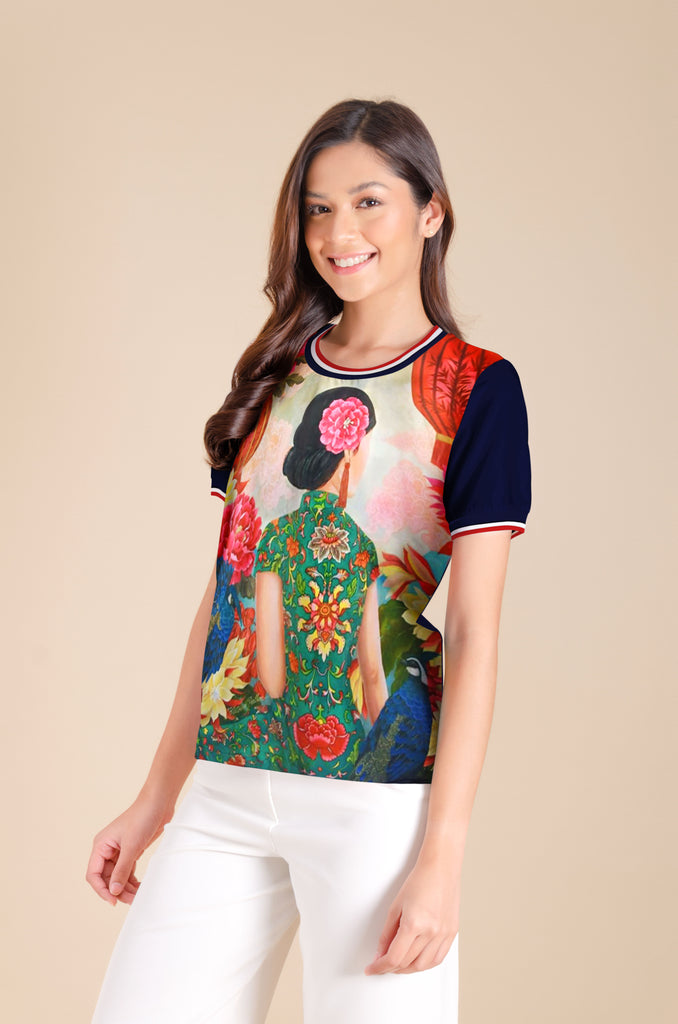 KPB-MERYL-NAVY1 Short sleeves round neck printed blouse with flat knit on neckline & sleeves