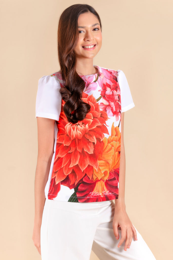 KPB-SELENE-FLORALWHT-FRONT Short sleeves round neck blouse with floral print