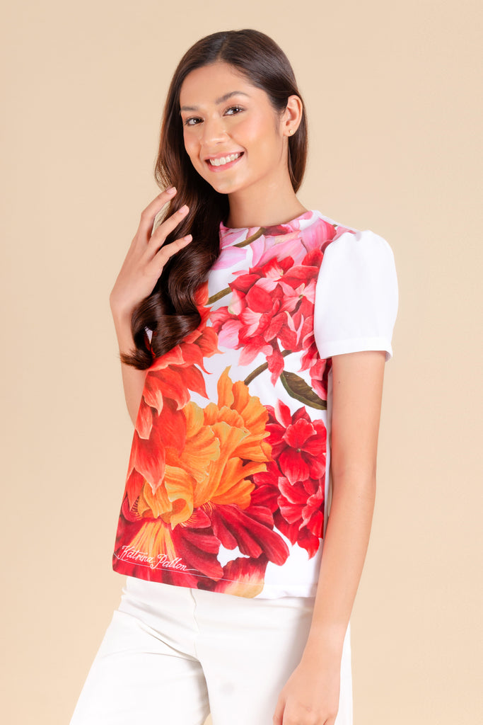 KPB-SELENE-FLORALWHT-SIDE Short sleeves round neck blouse with floral print