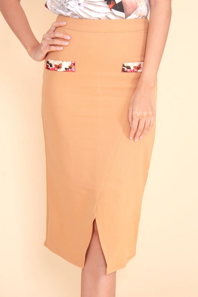 KPS-BLAIRE-BEIGE Below the knee skirt with front slit