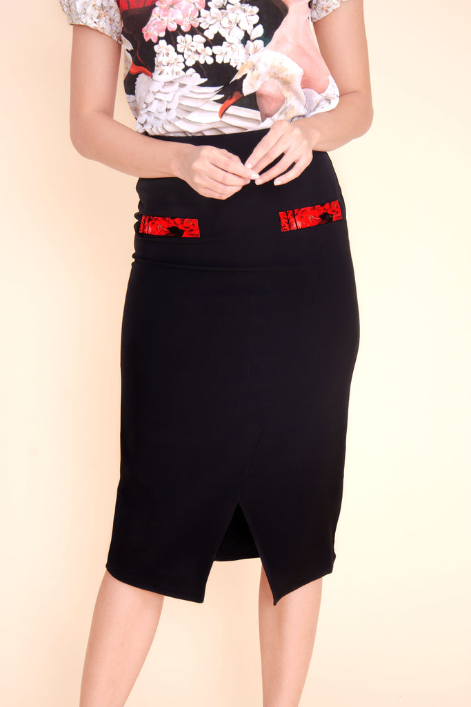 KPS-BLAIRE-BLACK Below the knee skirt with front slit