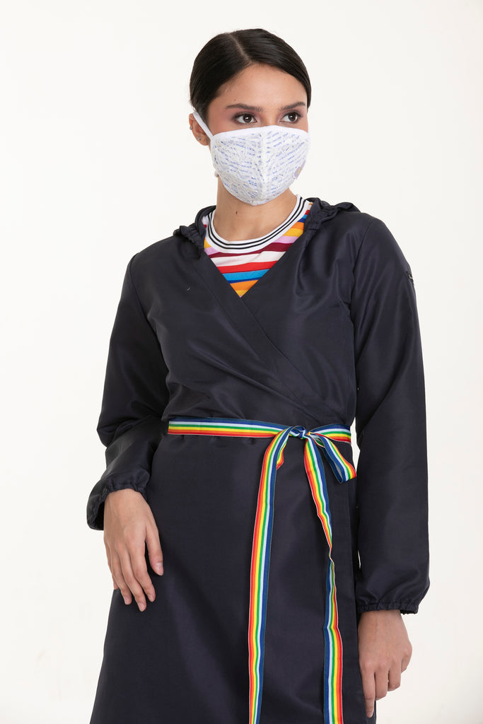 LOVEALWAYSDAILYWEARFASHIONPPEWRAPAROUNDDRESS-FRONT Dress with Hood, Multicolored Belt and Love Patch