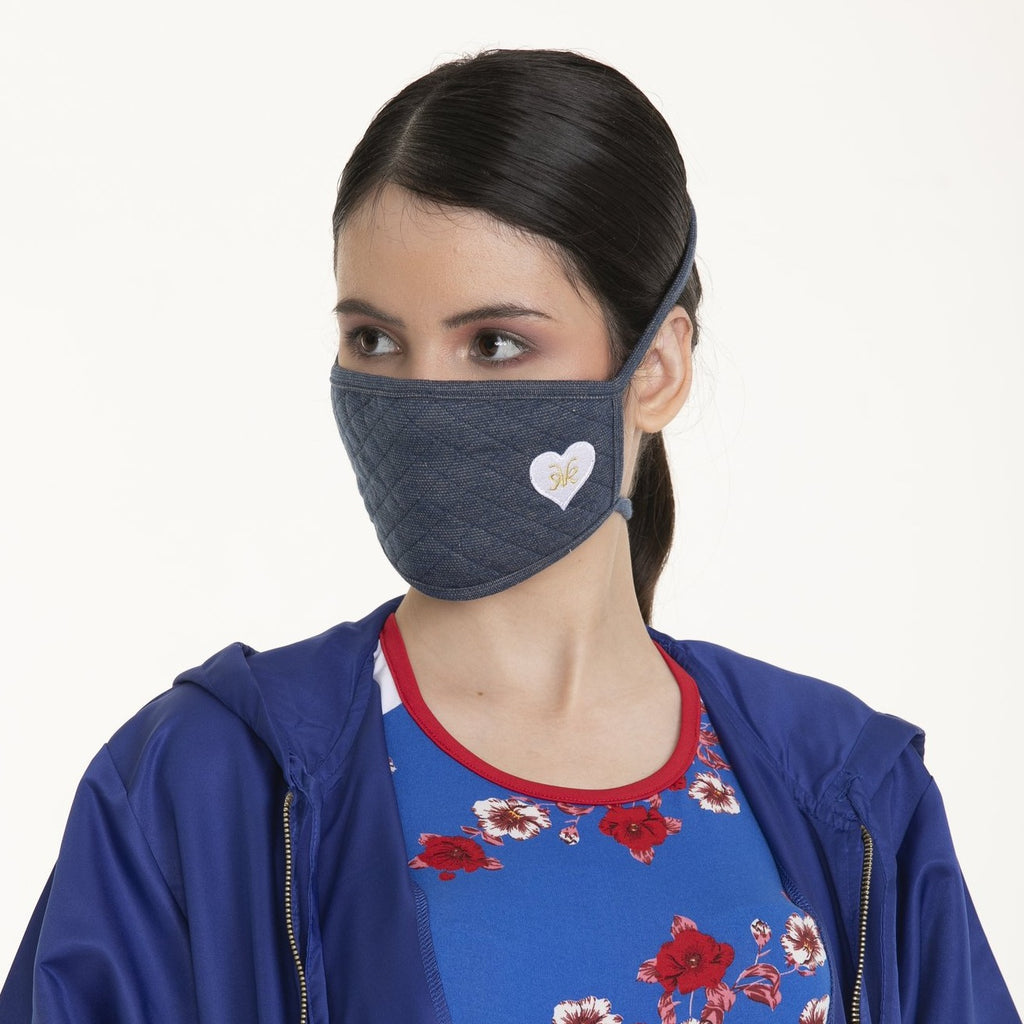 WA-MASK-AMOR2 Rectangular Shaped Washable Face Mask with Tie Backstrap and Heart Patch