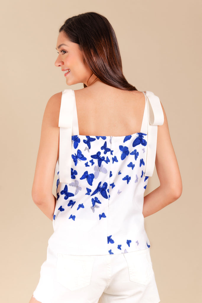 WB-ALIBANGBANG-P.WHITE-BACK Strap cropped blouse with butterfly print