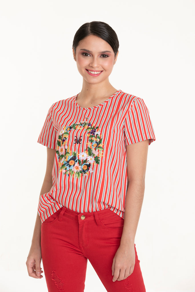WB-ALISON-REDSTRIPES-FRONT Short sleeves round neck  blouse with embroidery detail