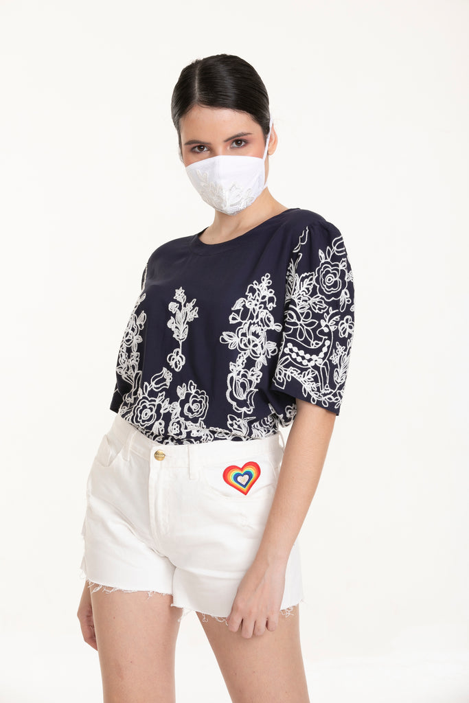 WB-BAILEY-NAVY-FRONT Short sleeves round neck blouse with embroidery details & back keyhole