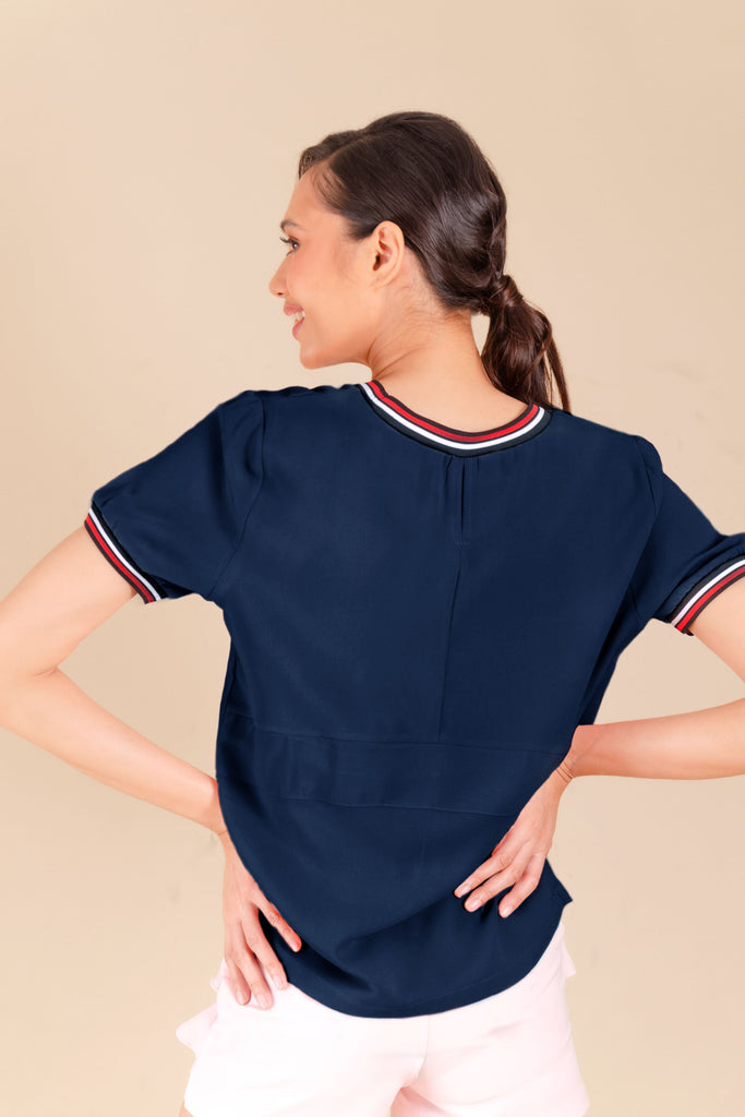 WB-CARIS-NAVY-BACK Short sleeves round neck blouse with flat knit combi on neckline and sleeves