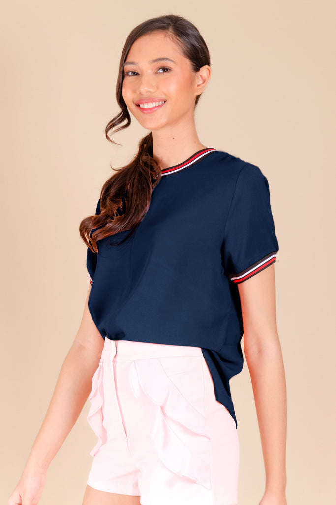 WB-CARIS-NAVY-FRONT Short sleeves round neck blouse with flat knit combi on neckline and sleeves