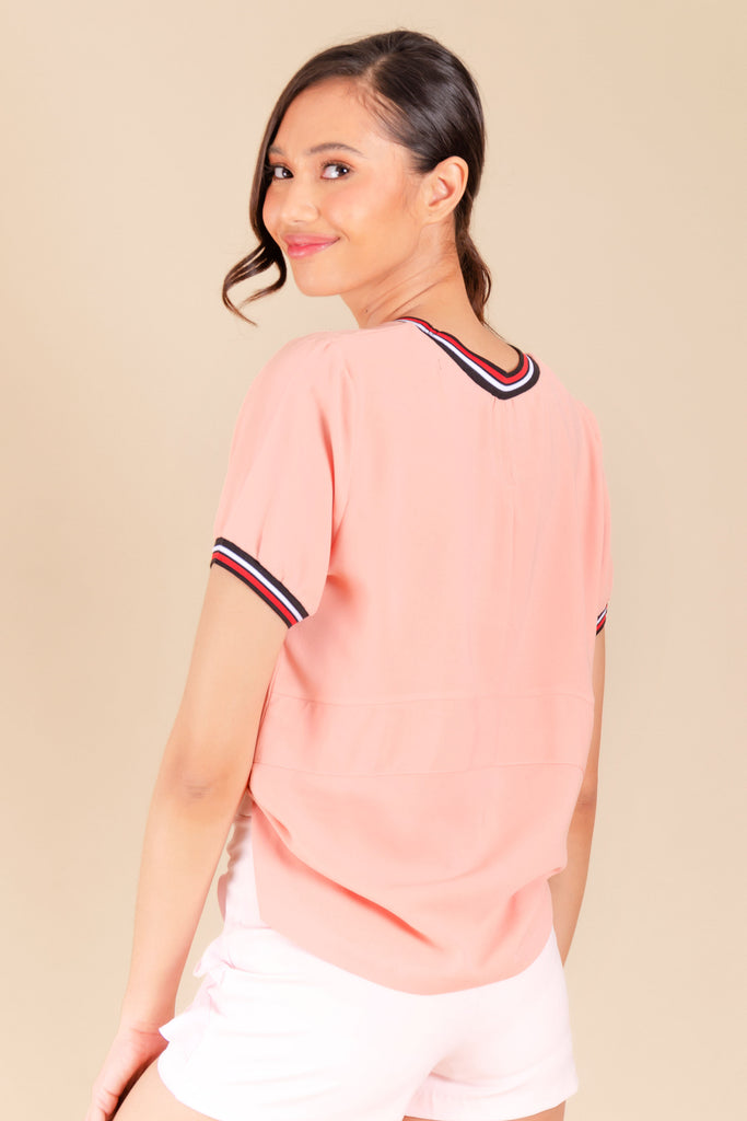 WB-CARIS-PEACH-BACK Short sleeves round neck blouse with flat knit combi on neckline and sleeves