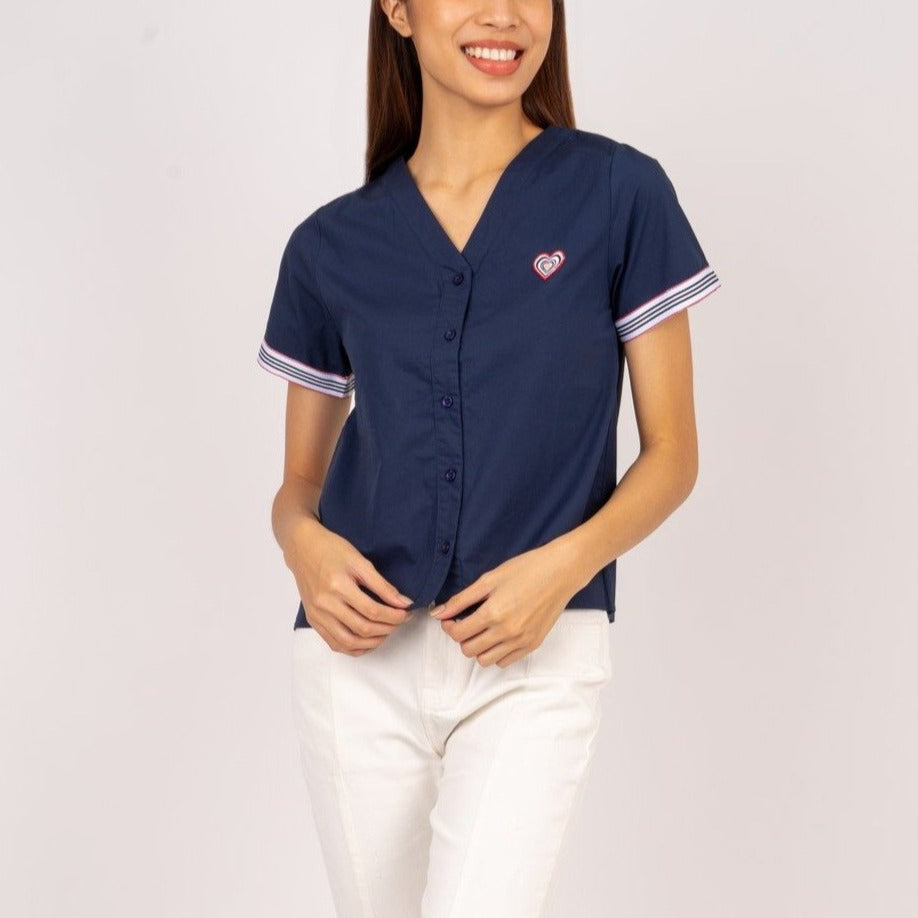 WB-DIXIE-NAVY-FRONT Short sleeves v-neck button down blouse with heart patch detail