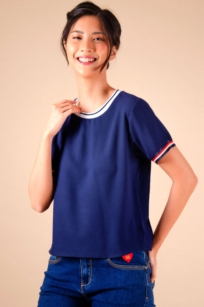 WB-EMERY-NAVY-FRONT2 Short -sleeves round neck cropped blouse with flat knit combi on neckline and stripes details on sleeves