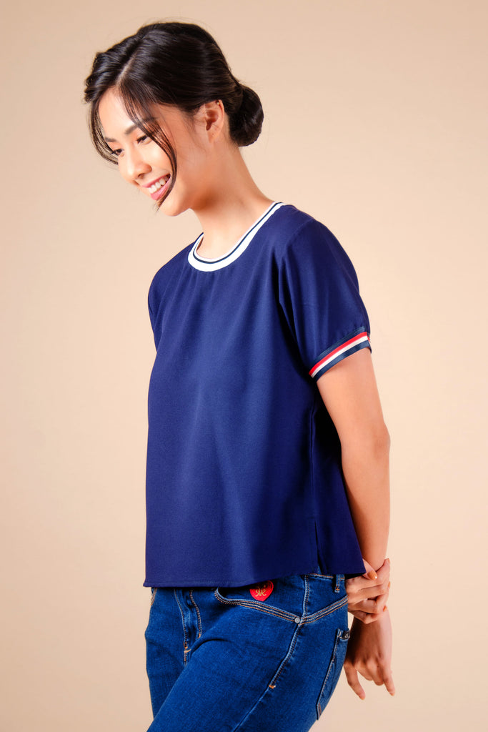 WB-EMERY-NAVY-SIDE Short -sleeves round neck cropped blouse with flat knit combi on neckline and stripes details on sleeves