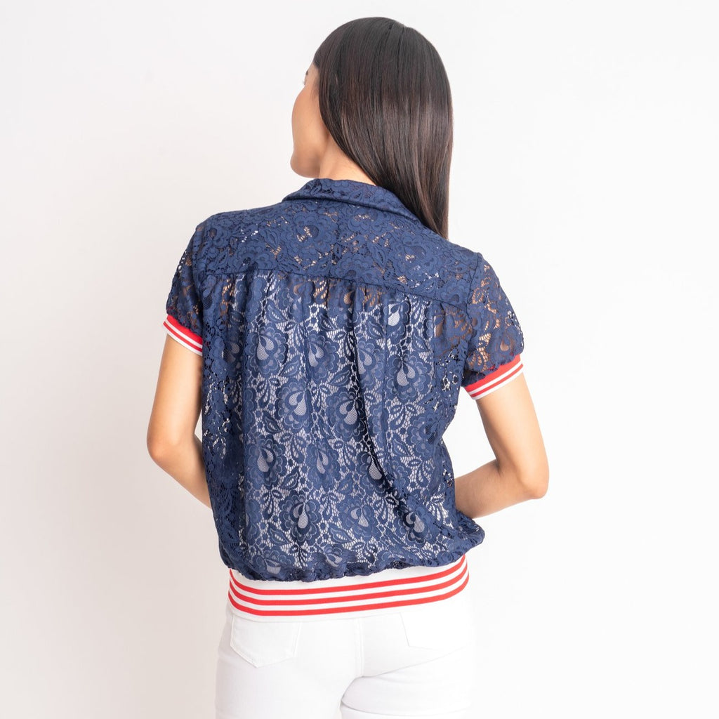 WB-FAITH-NAVY-BACK short sleeves collared button down blouse with flatknit on sleeves and waistband