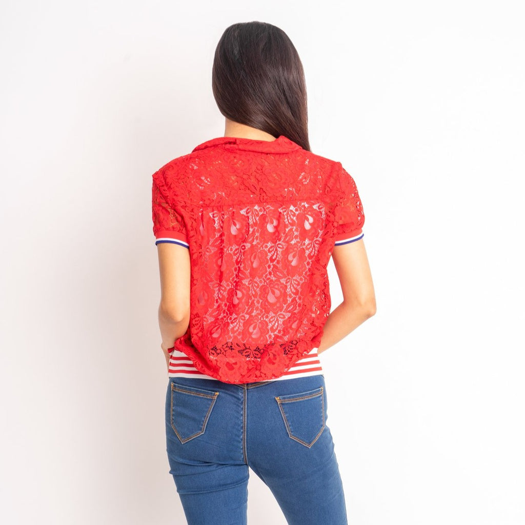 WB-FAITH-RED-BACK short sleeves collared button down blouse with flatknit on sleeves and waistband